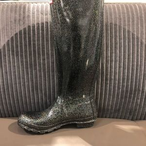 Hunter sparkly rain boots tall